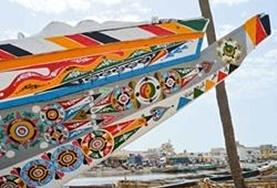Painted boats in St Louis, Senegal, where we run our French language course.