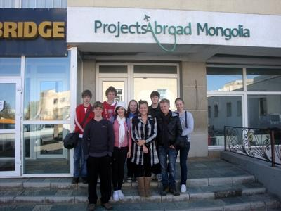 Volunteers outside the Projects Abroad office in Mongolia
