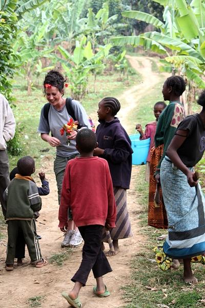 A volunteer with local children in Arusha, Tanzania