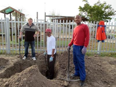 A volunteer on the Community Farming project in South Africa