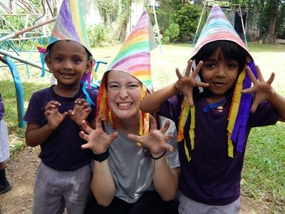 Projects Abroad care volunteer dresses up in Sri Lanka