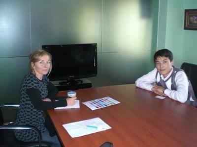 Volunteers in Mongolia prepare for a meeting