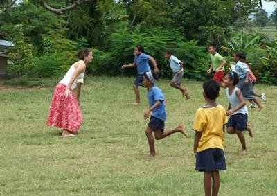 Projects Abroad Care volunteer plays games with children
