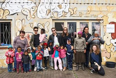 Projects Abroad volunteers with the children and staff at a Care centre in Cape Town, South Africa