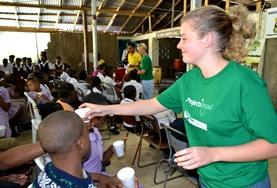 Volunteers on our HIV/Aids project in Ghana assisting with a diagnosis and awareness campaign in a local community.