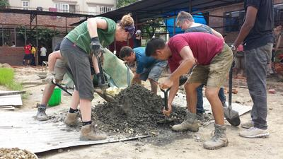 Projects Abroad Building volunteers assist with the building of a classroom in Kathmandu.