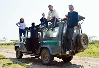 Projects Abroad conservation volunteers take a break while monitoring wildlife