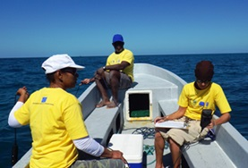 Conservation volunteers travel on a boat with local staff to find a suitable dive spot off the coast of Belize in the Caribbean.