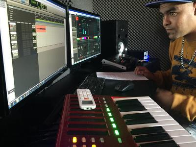 Intern recording and mixing in the studio on a Music Production internship in Cape Town, South Africa