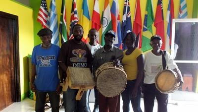 Local musicians on project in Jamaica