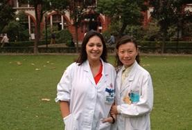 A Medical Elective volunteer poses with local doctors at a placement in China