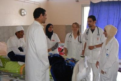 Elective volunteers with supervisors at their placement, Morocco