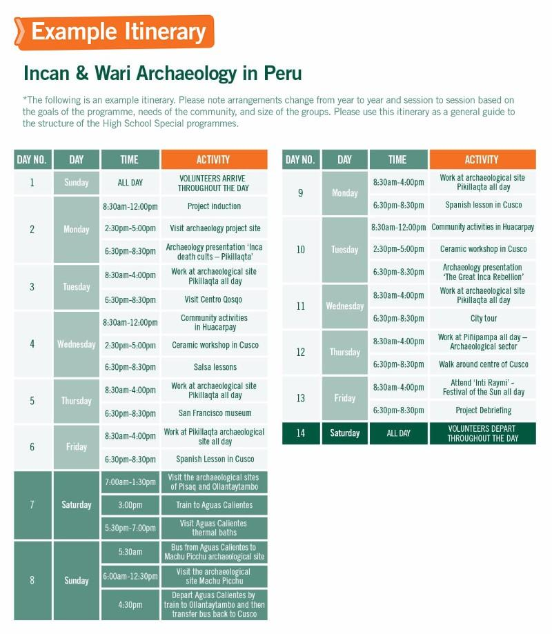 High School Special Volunteer Trips with Inca Project and Archaeology in Peru