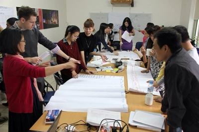 Volunteers on International Development project have a meeting