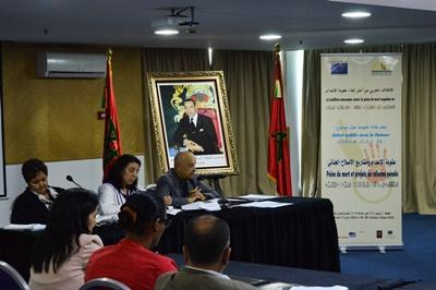 A guest speaker talks at conference on the Death Penalty in Rabat, Morocco organized by the Organisation Marocaine Des Droits Humains