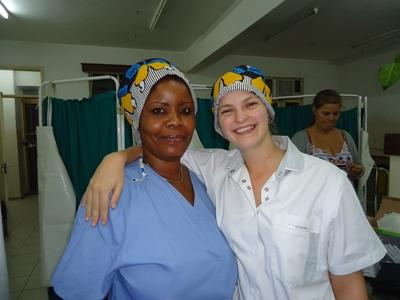 Female volunteer and doctor