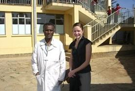 A volunteer poses with a colleague on a Medicine Project placement in Ethiopia