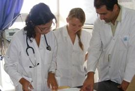 Medicine volunteers discuss their work at a placement in Morocco