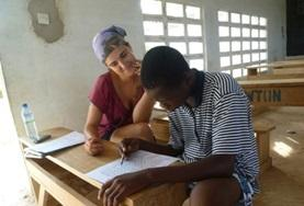 A local student receives specialised treatment from a Speech Therapy volunteer at our internship placement in Togo.