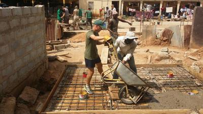 Building volunteers in Ghana