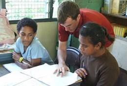 A professional Speech Therapist volunteering in Fiji helps students struggling with language difficulties.