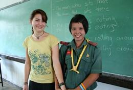 A qualified English Teacher working on a student's conversational skills during her volunteer project in Thailand.