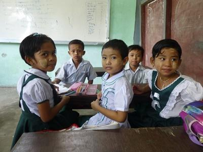 Young girls at school on a Projects Abroad Teaching placement in Myanmar