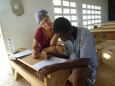 Female Projects Abroad volunteer teaching French in Togo