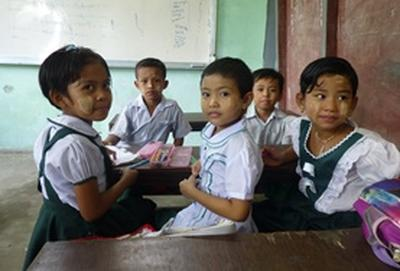 Children pose for a picture at a Teaching Project placement in Myanmar